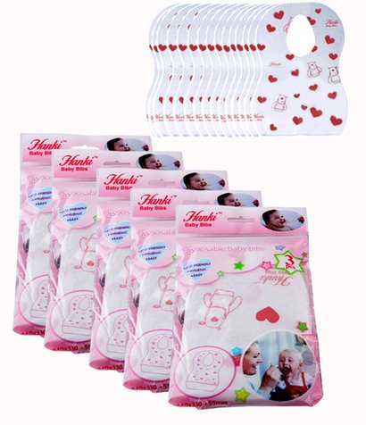 Pink And White Hanki Disposable Baby Bibs
