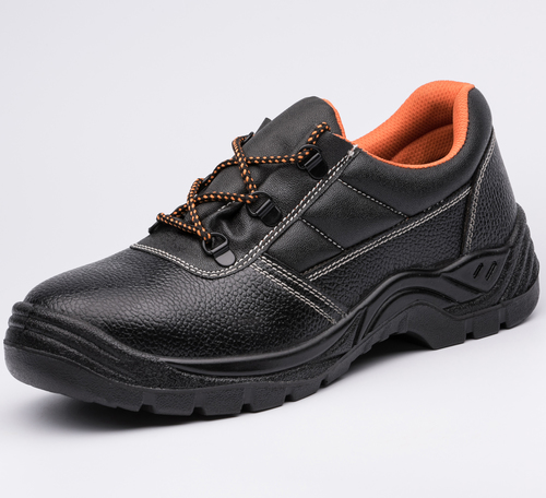 Embossed Leather Upper Dual PU Outsole Safety Work Shoes 6063