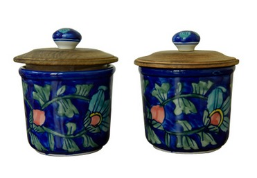 Hand Painted Ceramic Spice Jar