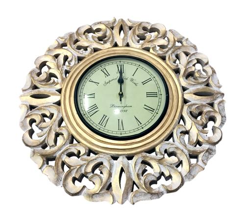Golden Wooden Wall Clock