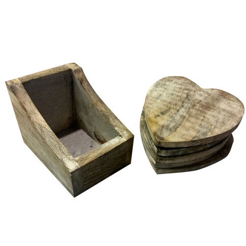 Heart Shape Wooden Tea Coaster
