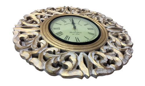 Round Wooden Golden Wall Clock