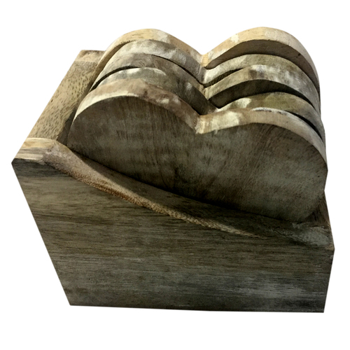 Wooden Tea Coaster Heart Shape With 5 Plates