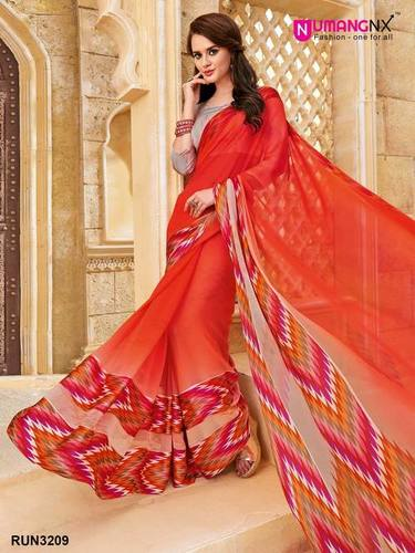 37a8fbd72d Party Wear Red Georgette Printed Saree in Surat, Gujarat - Umang Nx