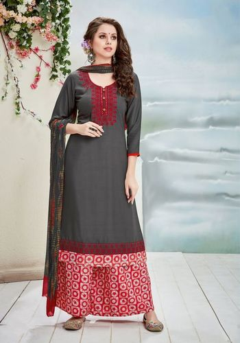 Dark Grey And Red Readymade Plazzo Suit