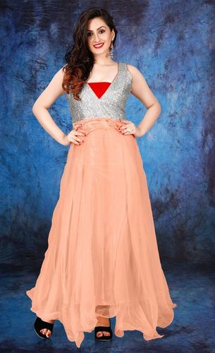 Peach Colored Semi Stitched Ladies Gown in  Ring Road