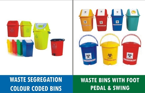 Biomedical Waste Color Coded Bins Red Yellow Blue