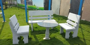 Granite Garden Chair Set With Teapoy