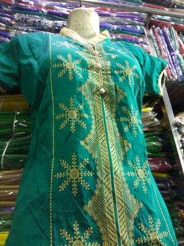 Green Color Short Sleeve Cotton Kurti