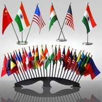 Flag Stands with All Country Flag
