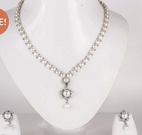 Simple Button Pearl Set Silver Base Modi Pearls Dr No 95 C
