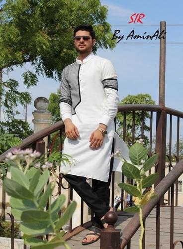 Black and White Designer Pathani