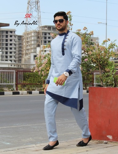 Sky Blue Designer Pathani