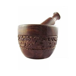 Wooden Carved Mortar And Pestle