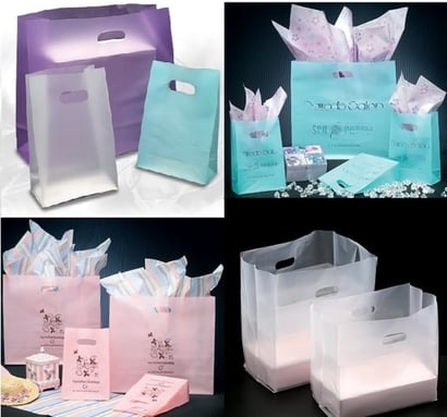 Printed Frosted High Density Shopping Bags With D-Cut Handles