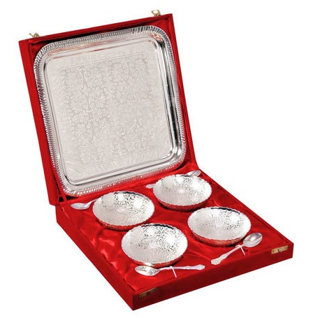 Silver Plated Four Piece Brass Bowl Set