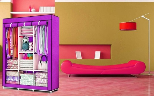 3 Layer Foldable Canvas Wardrobe