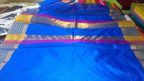 Blue Color Bordered Plain Sarees
