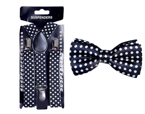 Kids Elastic Suspender And Bow Tie Combo