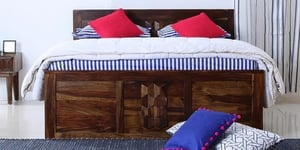 Jipsom Solid Wood Queen Size Bed With Box Storage