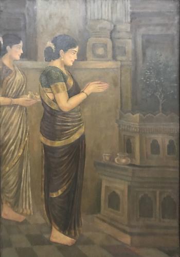 Lady Worshiping Holy Tulsi Painting