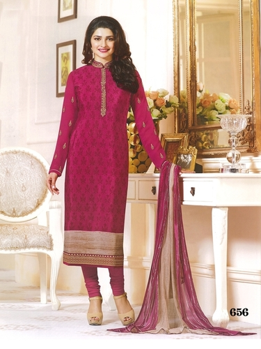 2e85863731 Prachi Desai Pink Color Royal Crape Embroidered Straight Suit in ...