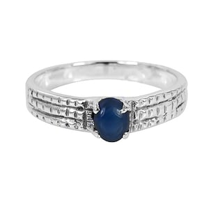 925 Sterling Silver Blue Sapphire Ring