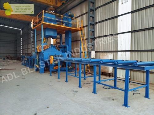 4 Wheel Roller Conveyor Type Shot Blasting Machine