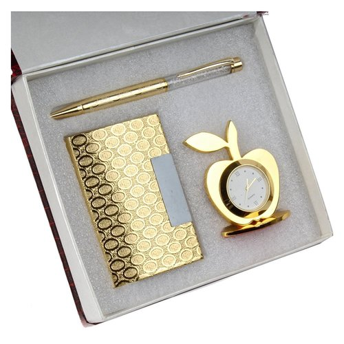 3 in 1 golden gift set with apple clock crystal pen business card 3 in 1 golden gift set with apple clock crystal pen business card holder reheart Images