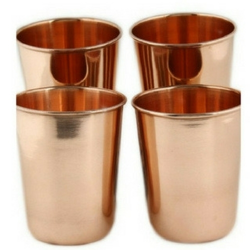100% Pure Embossed Copper Glass Set of 4