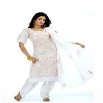White Lucknowi Chikan Suit Floral Embroidery