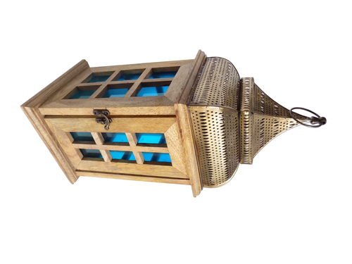 Cage Designed Wooden Lantern