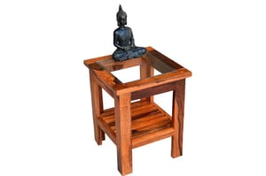 Stripal Glass Top Wooden Stool