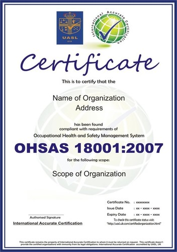 Ohsas 18001:2007 Occupational Health And Safety Series Service in ...