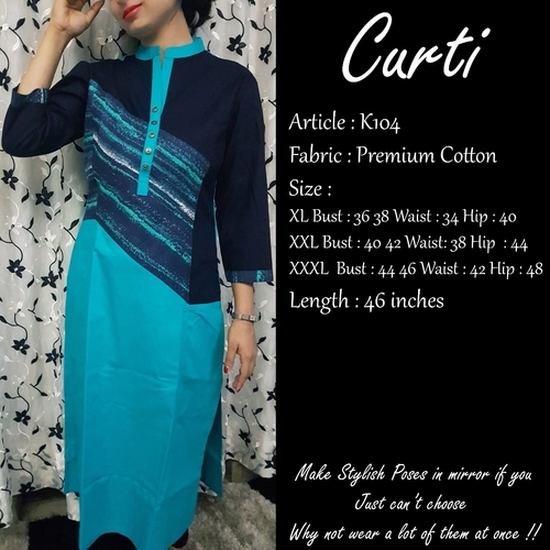 Anti Wrinkle Premium Cotton Kurti (Curti K104)