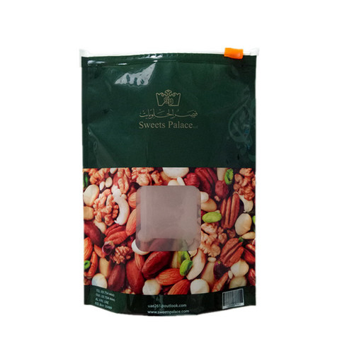 Resealable Stand Up Zipper Bags With Clear Window For Nuts Packing