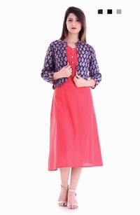 Red Cotton Long Kurta With Rayon Printed Jacket