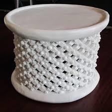 White Bamileke Coffee Tables