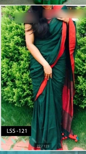 Green And Red Color Linen Saree