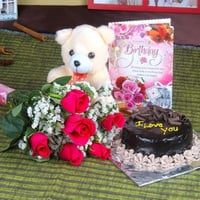 Birthday Gift Hamper (Roses and Chocolate Cake Including Teddy Bear with Birthday Greeting Card)