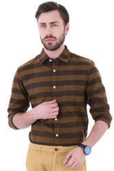 Full Sleeves Cotton Casual Wear Brown Shirt
