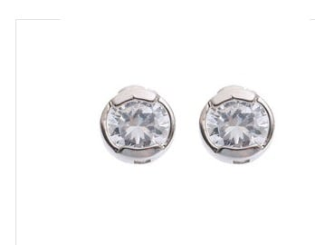 Silver Plated Round White Stone Stud Earring