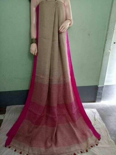 Linen By Linen Saree With Blouse Piece