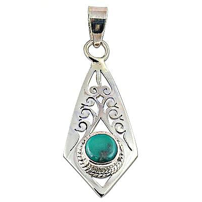 Traditional 925 Sterling Silver Turquoise Round Gemstone Pendant Jewelry