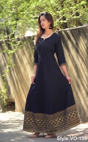 Black Cotton Long Dress With Printed Borders in Jaipur eccdda922