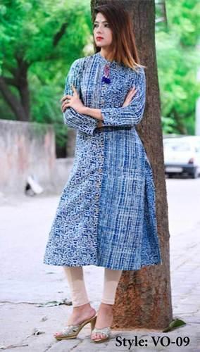 Blue Cotton Straight Indigo Kurti