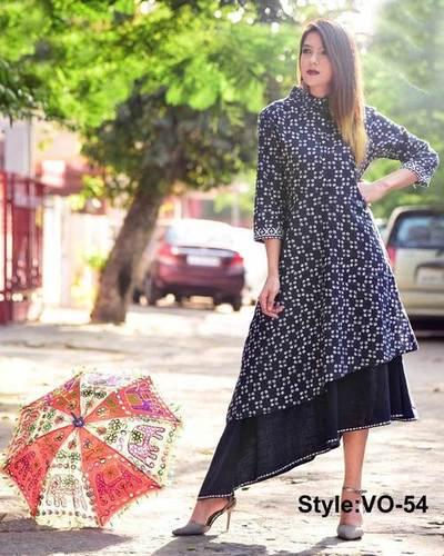 Blue Malmal Cotton Up   Down Designing Dress - VEDIKA OVERSEAS 8ee31a5a0