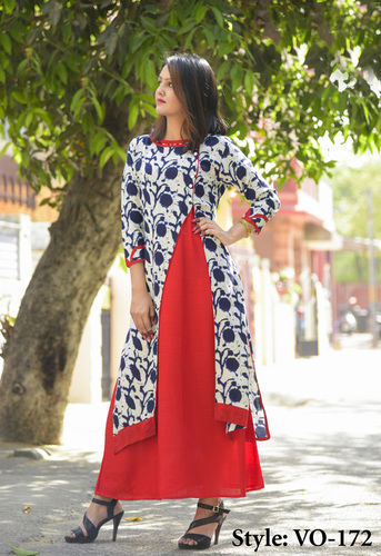 Red & Blue Straight Rayon Double Layer Ladies Dress
