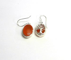 Fashionable 925 Sterling Silver Red Onyx Oval Earring