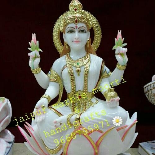 Goddess Laxmi On Lotus Marble Statue